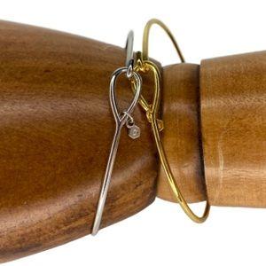 2 Origami Owl Gold & Silver Tone Bangle Bracelets